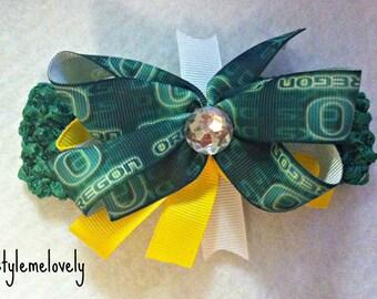 Oregon Ducks Baby Girl Boutique Bow Crocheted Headband