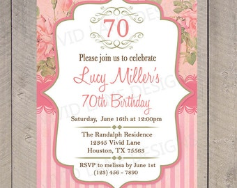 Adult Birthday Invitation, Vintage Roses, 40th, 50th, 60th,  65th, 70th, 80th, 85th 6061