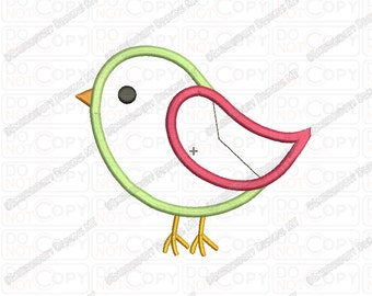 Bird Tweet 2 Layer Applique Embroidery Design in 2x2 3x3 4x4 and 5x5 Sizes