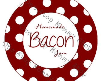 Printable Bacon Jam canning lid  labels