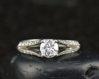 Jamie - Moissanite & Diamond Engagement Ring in White Gold, Prong Set Round Brilliant, Tapered Split Shank, Antique Style, Free Shipping