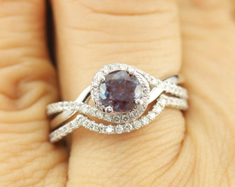Kara Beth Ann Set - Alexandrite and Diamond Engagement Ring & Wedding Band in White Gold, Twisted Shank Design, Modern Style, Free Shipping