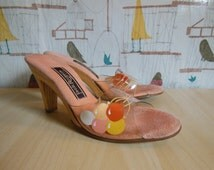 Vintage Pink Handpainted Balloon Jack Rogers Kitschy Lucite Plastic Jelly Sandal Party Shoes with Wooden High Heel Women Size 7 Made in USA