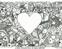 Adult colouring book page - one page instant PDF