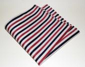 Blue, White & Red Stripe Handkerchief / Pocket Square