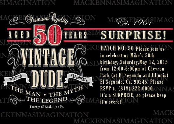 Vintage Label 50th Birthday Invite DIGITAL by ...