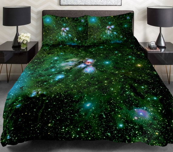 green galaxy quilt cover galaxy duvet cover galaxy by tbedding. Black Bedroom Furniture Sets. Home Design Ideas