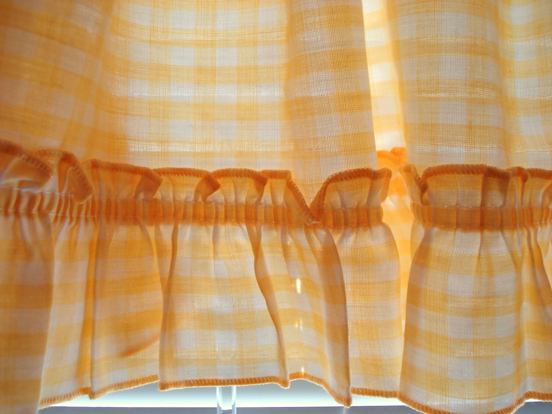 Shabby Curtain Valance Yellow Gingham Check Ruffle Shabby