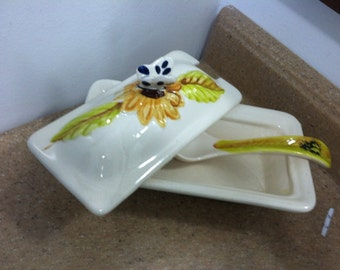 Butterfly and a Lady Bug Ceramic Dish