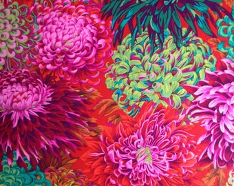 JAPANESE CHRYSANTHEMUM Scarlet Red PJ41 Philip Jacobs Kaffe Fassett fabric Sold in 1/2 yd increments