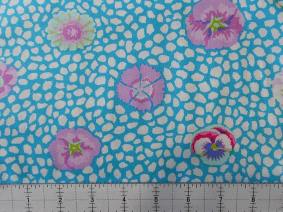 GUINEA FLOWER GP59 Turquoise Kaffe Fassett sold in 1/2 yard increments