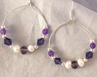 Purple Crystal and Pearl Hoop Earrings