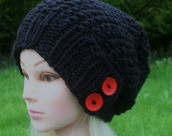 Black hat Hand Knit Hat Womens Hat Slouchy beanie hat Black hat with two red wooden buttons- winter hat- Womens Accessories