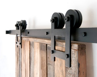 Black 6 8 ft rustic sliding barn door closet hardware set - Rail porte coulissante industrielle ...