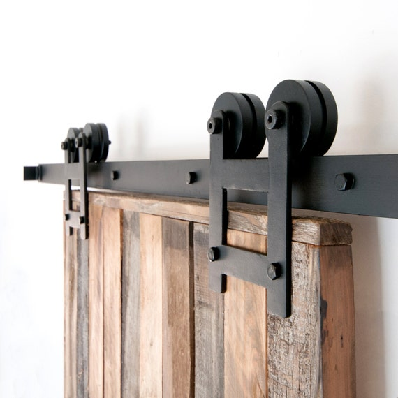 Industrial Classic Double Wheel Sliding Barn Door Closet Hardware