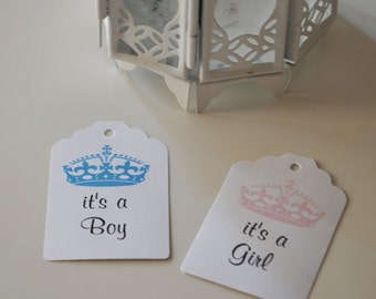 It's a Boy Tags, It's a Girl Tags  - Set of 30 -  Crown Baby Shower Favor Tags Girl Baby ShowerTag Boy baby showerTag Baptism Favor Tag