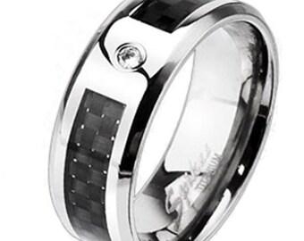 Titanium Men's Black Graphite Carbon Fiber w/ CZ Band Ring Size 9-14