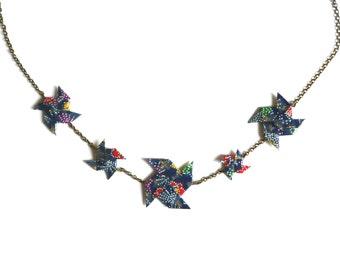 Necklace Origami Pinwheels Dark blue