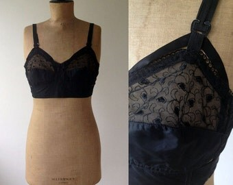 1950s 'Berlei' Black Starlet Bra with Lace & Cut Out Detail / 50s Underwear / Vintage Brassiere / Size UK 38B