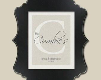 Wedding Date/ Initial Monogram Wedding Gift/ Linen Texture backgrd/ Gift to Bride/ Gift to Groom/ First Paper Anniv/ Housewarming/ 8x10