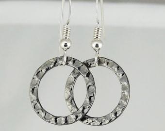 Simple Gunmetal-Finished Steel Ring Earrings
