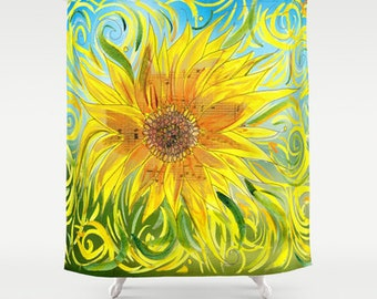 Sunflower Shower Curtain - Sunny, Vibrant  fabric shower curtain, music,  yellow, blue sing, musician gift decor, bright home