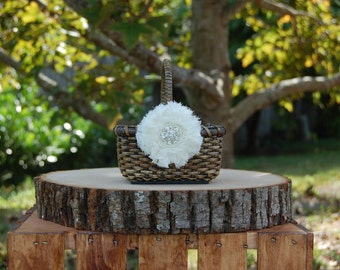 Rustic Chic Mini Flower Girl Basket/ Shabby Chic Flower Girl Basket/ Rustic Flower Basket/ Flower Girl Basket/Barn Wedding/ Rustic Wedding