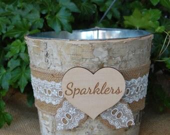 Rustic Sparkler Holder/Rustic Birch Bark Sparkler Basket/ Shabby Chic Sparkler Container/Rustic Chic Sparklers/ Barn Wedding/ Rustic Wedding