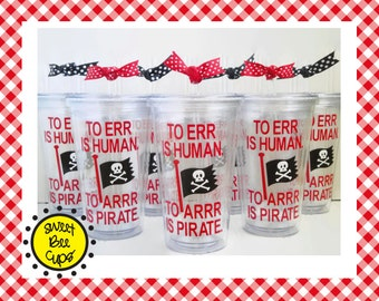 Personalized Acrylic Cup Md - Acrylic Cup for Pirate Lovers and ECU Pirates Fans Arrr with Pirate Flag BPA FREE