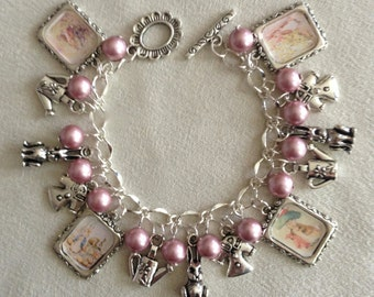 Beatrix Potter The Tale of Benjamin Bunny Silver Charm Bracelet with Swarovski Pearls