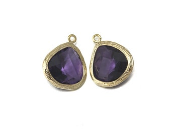 Amethyst Glass Pendant . Jewelry Craft Supplies . 16K Polished Gold Plated over Brass  / 2 Pcs - CG004-PG-AM