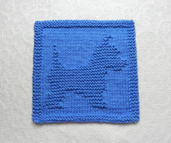 Knitting Pattern For Westie Dog : WESTIE Knit Dishcloth. Blue. Hand Knitted 100% by ...