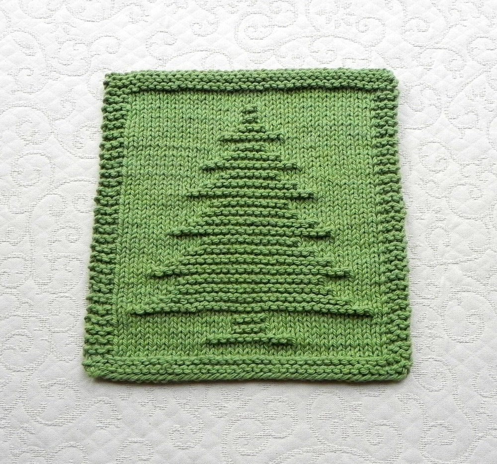 PINE TREE Knit Dishcloth. Hand Knitted Unique by AuntSusansCloset