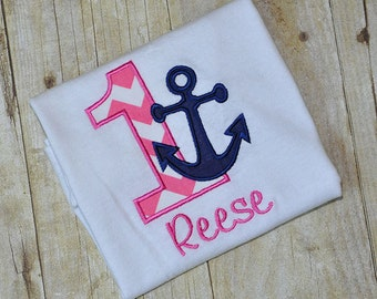 Personalized Nautical Anchor Birthday Shirt or Bodysuit