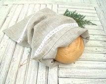 Linen Bread Bag Natural Linen Bag Reusable Bread Keeper Storage Bag Rustic decor Eco friendly material