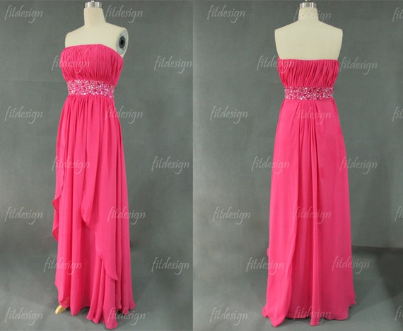 hot pink prom dress, long prom dress, strapless prom dress, chiffon prom dress, long evening dress, homecoming dress, 1400250