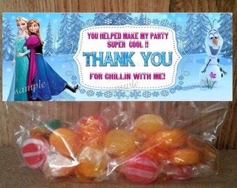 Disney Frozen Treat Bag Toppers - INSTANT DOWNLOAD Thank You  Printable file for Birthday Party