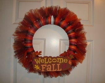 Fall/Autumn/Thanksgiving Tulle Wreath, Tutu wreath, Fall Decor, choose from 5 different styles!