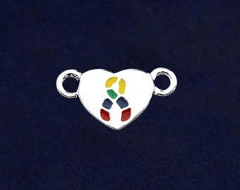 Silver Heart Autism Ribbon Charm (RE-CHARM-B36A-2)