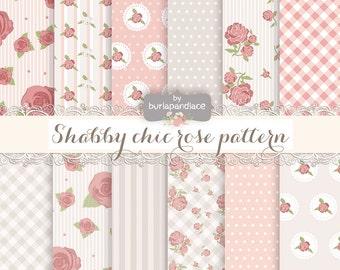 Shabby Chic Rose, Digital paper romantic paper, shabby chic digital paper, romantic, rose, rose digital paper, romantic papers