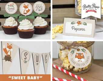 Baby Shower Decor Pack - Gender Neutral Woodland Fox // INSTANT DOWNLOAD // Banner, Food Tents, Cupcake Toppers, Favor Tags / Printable BS03