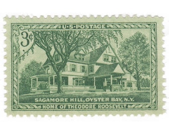 1953 3c Sagamore Hill - 10 Unused Vintage Postage Stamps - Item No. 1023