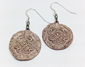 Sunfire Jewelry - Earrings - Rustic Copper Handmade Coins with Silver Ear Wire