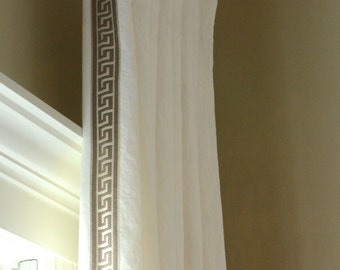 Pleated Linen Drapery Panels with Greek Key Trim Made to Order
