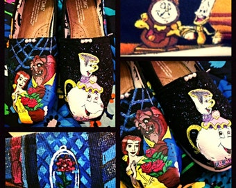 Custom painted Beauty and the Beast Toms. Designed and personalized just for you!