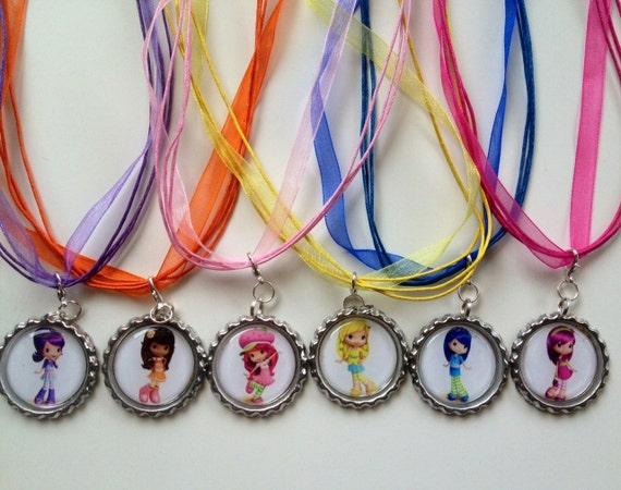 6 strawberry shortcake boutique bottlecap necklaces for Strawberry shortcake necklace jewelry
