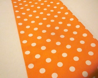 Orange and White Polka Dot Table Runner,Halloween, Birthday Party, Baby Shower,