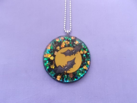 Halloween Bats Necklace - Halloween Necklace - Bat Necklace - Resin Necklace