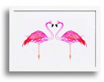LOVE BIRDS. Flamingo wall art, bright pink, print, watercolour.
