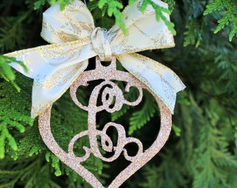 Tear Drop Glitter Vine Monogram Christmas Ornament
